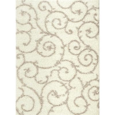 Cozy Soft Floral Shag Cream 5 ft. 3 in. x 7 ft. 3 in. Indoor Area Rug