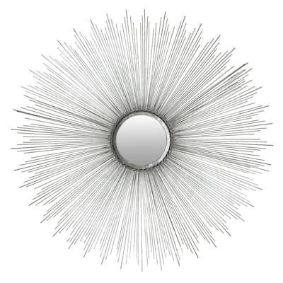 Sun Burst 40.75 in. x 40.75 in. Iron Framed Mirror