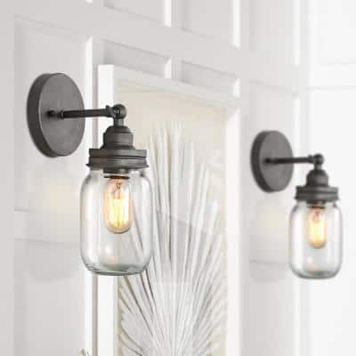 1-Light Industrail Slate Gray Bathroom Damp Vanity Wall Sconce with Clear Glass Mason Jar Shade LED Compatible