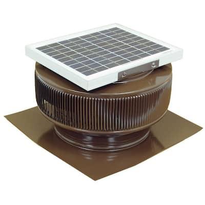 740 CFM Brown Powder Coated 10-Watt Solar Powered 12 in. Dia. Roof Mounted Attic Exhaust Fan