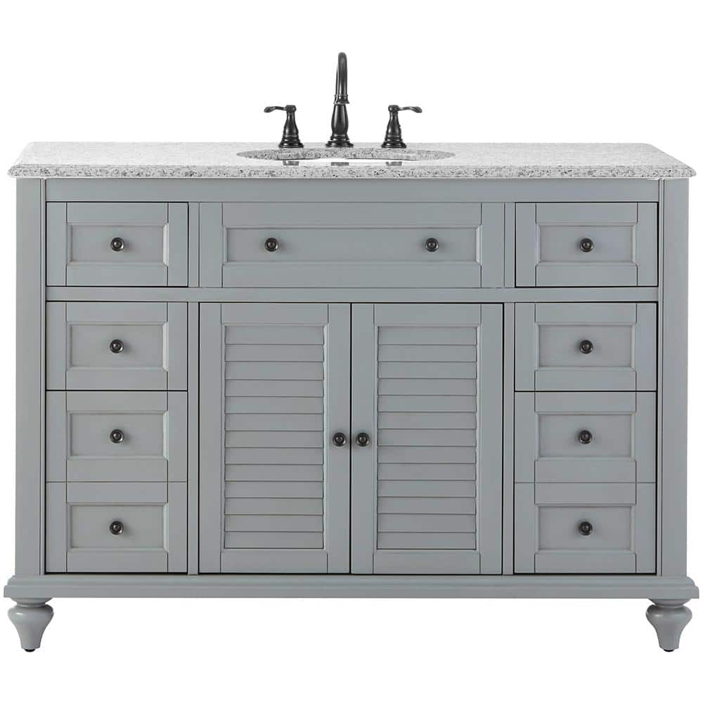 Home Decorators Collection Hamilton Shutter 49 5 In W X 22 In D Bath Bath Vanity In Grey With Granite Vanity Top In Grey With White Sink 10806 Vs48h Gr The Home Depot