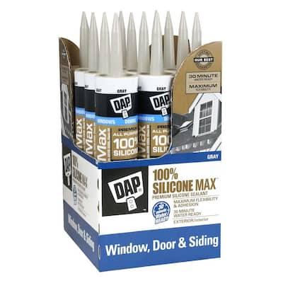 Silicone Max 10.1 oz. Gray Premium Window, Door, and Siding Silicone Sealant (12-Pack)