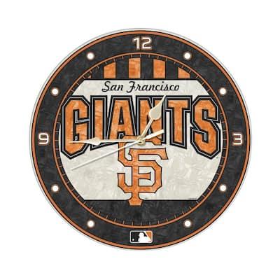 MLB -12 in. Novelty Giants Art Glass Clock