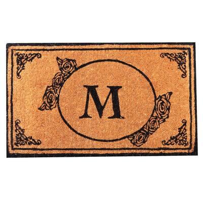Monogram M 48 in. x 30 in. Coir Outdoor Welcome Entrance Doormat