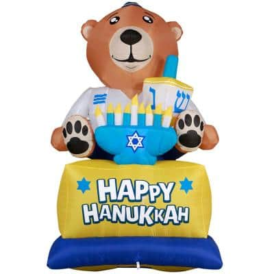 Giant Hanukkah Inflatable Bear - Yard Decor with Built-in Bulbs, Tie-Down Points and Powerful External Fan