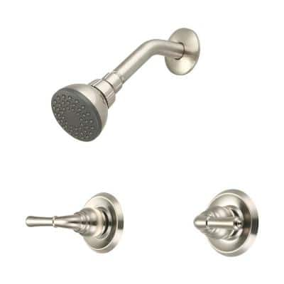 Elite 2-Handle 1-Spray Shower Faucet in Brushed Nickel (Valve Included)