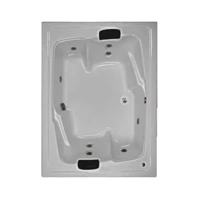 72 in. Acrylic Rectangular Drop-in Whirlpool Bathtub in White