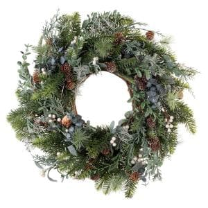 24 in. Rustic White Berry Wreath