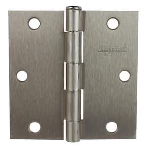 3-1/2 in. Satin Nickel Steel Door Hinges Square Radius with Screws (12-Pack)