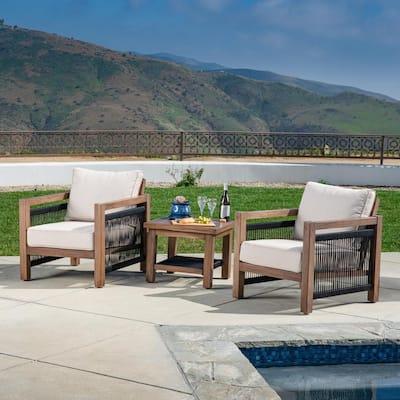 Laney 3-Piece Aluminum Patio Conversation Set with Olefin Beige Cushions