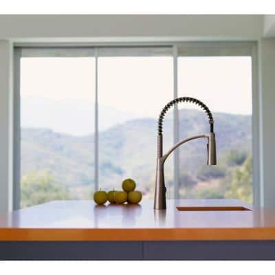 Brenner Commercial Style Single-Handle Pull-Down Sprayer Kitchen Faucet in Stainless Finish