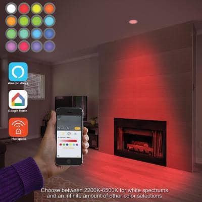 4 in. Smart Color Selectable CCT Integrated LED Recessed Light Trim Works with HUBSPACE App Google Amazon