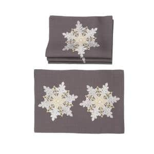 0.1 in. H x 20 in. W x 14 in. D Sparkling Snowflakes Embroidered Double Layer Christmas Placemats (Set of 4)