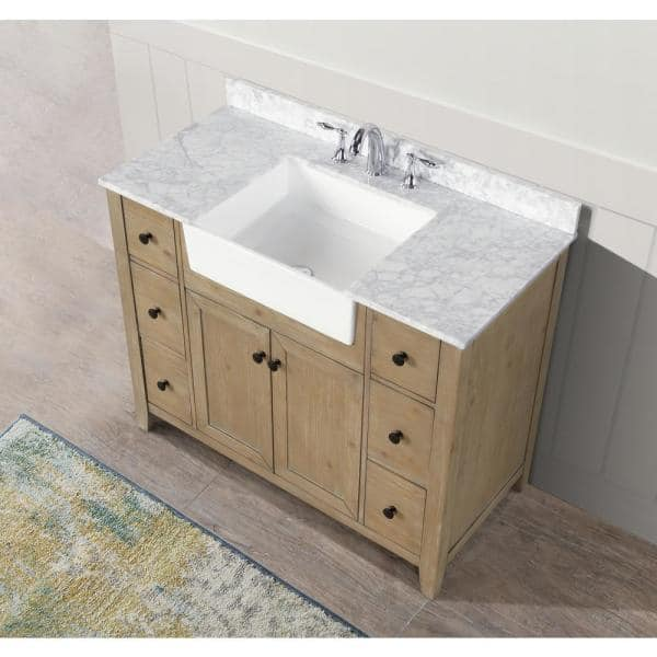Ari Kitchen And Bath Sally 42 In Single Bath Vanity In Weathered Fir With Marble Vanity Top In Carrara White With Farmhouse Basin Akb Sally 42 Weathfir The Home Depot