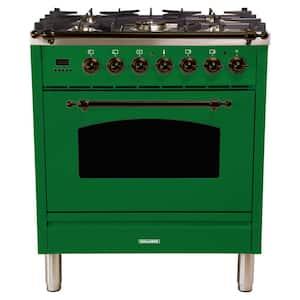 30 in. 3.0 cu. ft. Single Oven Italian Gas Range with True Convection, 5 Burners, Bronze Trim in Emerald Green