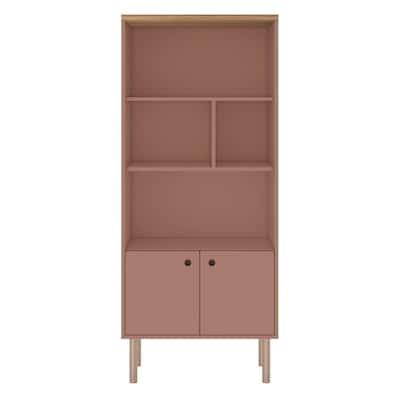 Hampton Ceramic Pink and Nature 5-Shelf Modern Display Bookcase Cabinet