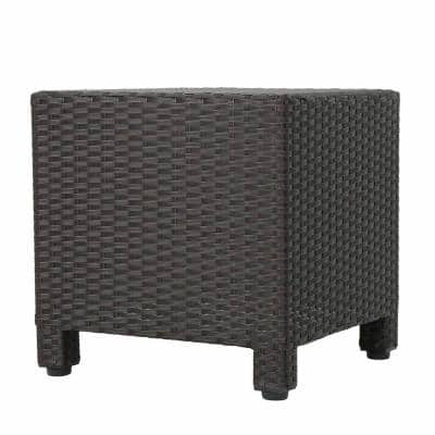 Maverick Dark Brown Square Wicker Outdoor Side Table