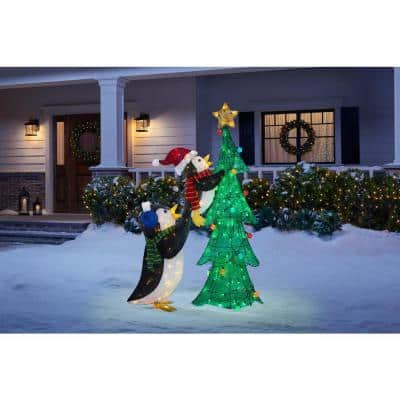 62 in. 160-Light LED Tinsel Penguins with Tree Outdoor Christmas Decor