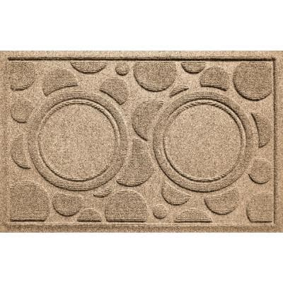 Dog Bowl Dots 18 in. x 27 in. Camel PET Polyester Pet Mat