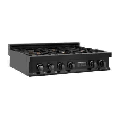 36 in. Porcelain Gas Stovetop in Black Stainless Steel with 6 Brass Burners