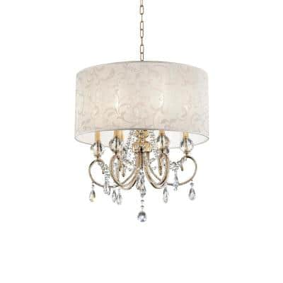 6-Light Crystal Gold 24.5 in. Aurora Barocco Shade Chandelier Ceiling Lamp