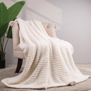 60 in. L x 50 in. W, 800g Knitted Polyester Beige Feather Yarn Throw Blanket