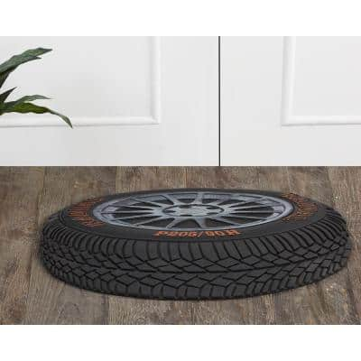 """Tire Collection Silver & Copper 16"""" x 32"""" Rectangle Rubber Door Mat"""