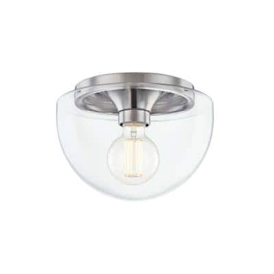 Grace 1-Light 10 in. Polished Nickel Flush Mount