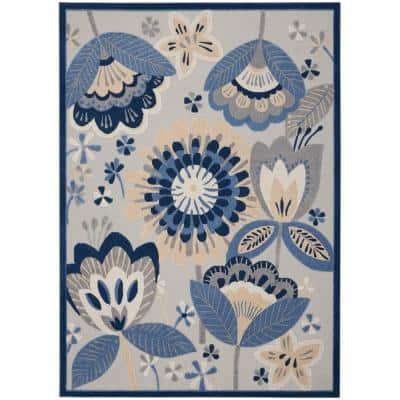 Aloha Blue/Grey 12 ft. x 15 ft. Floral Contemporary Indoor/Outdoor Area Rug