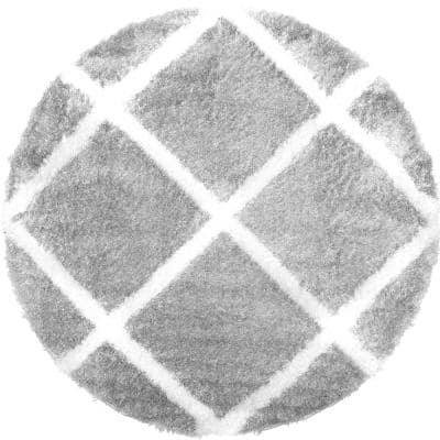 Carmela Gray/Ivory Trellis Shag 5 ft. 2 in. Round Indoor Area Rug