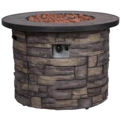 Sevilla Round Outdoor Propane Gas Stone Fire Pit Table with Lava Rock, 35 in. Dia