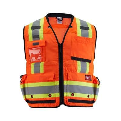 Large/X-Large Orange Class 2 Surveyor's High Visibility Safety Vest with 27-Pockets