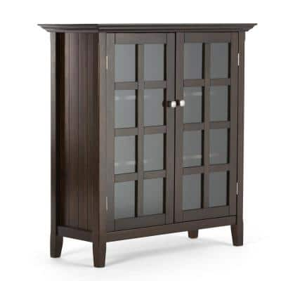 Acadian Solid Wood 39 in. Wide Rustic Medium Storage Cabinet in Tobacco Brown