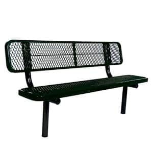 In-Ground 6 ft. Black Diamond Commercial Park Bench with Back