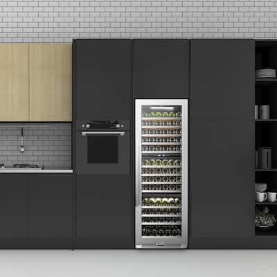 143 Bottle Seamless Stainless Steel Triple Zone Wine Refrigerator