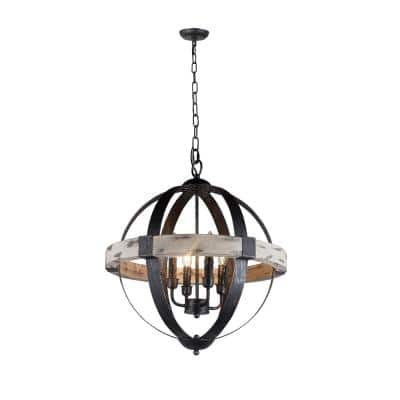 Zeus 4-Light Distressed Black Chandelier with Wood and Steel Frame