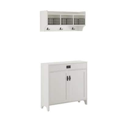 Fremont Distressed White Entryway Storage Set (2-Piece)