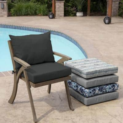 21 in. x 17 in. 2-Piece Deep Seating Outdoor Lounge Chair Cushion in Slate Grey Acrylic