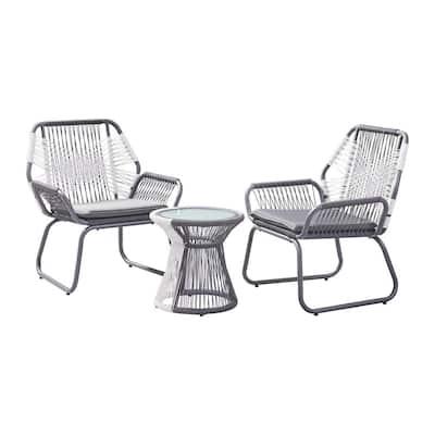 Idaho Grey 3-Piece Metal Patio Conversation Set with Grey and White Cushions