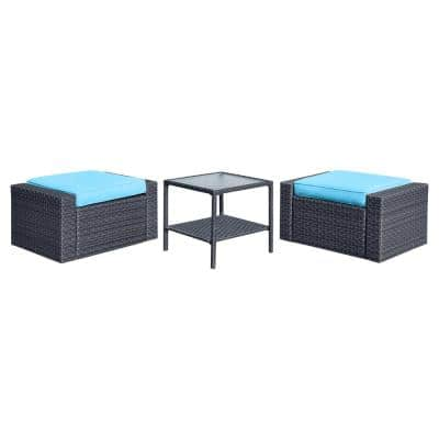 3-Piece Black Wicker Outdoor Ottoman with Blue Cushions and Square Glass Top Coffee Table
