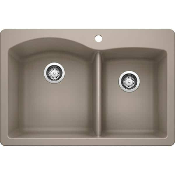 Blanco Diamond Silgranit Dual Mount Granite Composite 33 In 1 Hole 60 40 Double Bowl Kitchen Sink Truffle 441283 The Home Depot