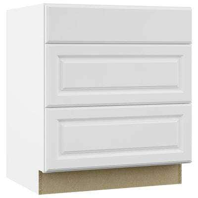 Hampton Satin White Raised Panel Stock Assembled Pots and Pans Drawer Base Kitchen Cabinet (30 in. x 34.5 in. x 24 in.)