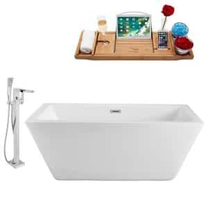 Tub, Faucet and Tray Set 70 in. Acrylic Flatbottom Non-Whirlpool Bathtub in Glossy White