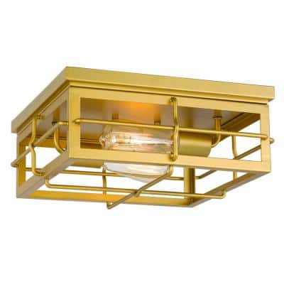 Hanford 13.88 in. x 13.88 in. x 5.88 in. 2-Light Painted Brass Flush Mount