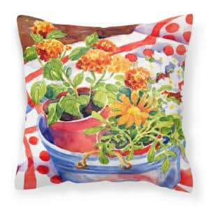 14 in. x 14 in. Multi-Color Lumbar Outdoor Throw Pillow Flowers with a Side of Lemons Decorative Canvas Fabric Pillow