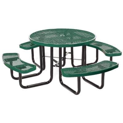 Portable 46 in. Green Commercial Round Picnic Table