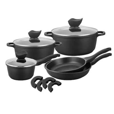 Die-Cast 8-Piece Cast Aluminum Ceramic Nonstick Cookware Set in Black
