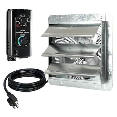 12 in. Shutter Exhaust Fan with Thermospeed Controller, 65-Watt, 960 CFM