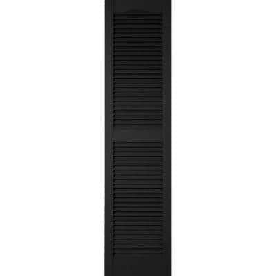 14-1/2 in. x 48 in. Lifetime Vinyl Standard Cathedral Top Center Mullion Open Louvered Shutters Pair Black
