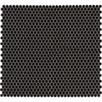 Black Penny Round 11.57 in. x 12.4 in. x 10mm Glossy Porcelain Mesh-Mounted Mosaic Tile (19.93 sq. ft. / case)